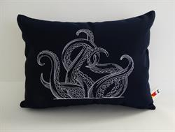 Sunbrella Embroidered Swirly Pillow Cover - Octopus - Navy