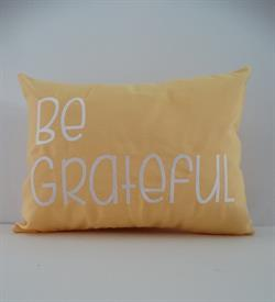 Sunbrella Embroidered Sentiment Indoor Outdoor Pillow Cover - Be Grateful