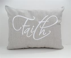 Sunbrella Embroidered Sentiment Pillow Cover - Faith - Cast Silver