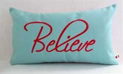 Sunbrella Embroidered Believe Indoor Outdoor Pillow Cover - Glacier