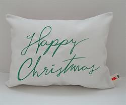 Sunbrella Embroidered Happy Christmas Indoor Outdoor Pillow Cover - Natural