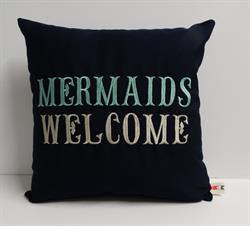 Sunbrella Embroidered Mermaid Pillow Cover - Mermaids Welcome - Navy