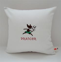 Sunbrella Embroidered Reindeer Prancer Indoor Outdoor Pillow Cover - Natural