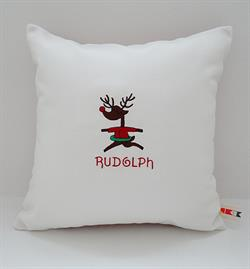 Sunbrella Embroidered Reindeer Rudolph Indoor Outdoor Pillow Cover - Natural