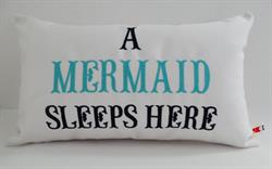 Sunbrella Embroidered Mermaid Pillow Cover - A Mermaid Sleeps Here® - Aqua and Navy