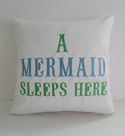 "Sunbrella Embroidered Mermaid Pillow Cover - A Mermaid Sleeps Here® - White - 16"" Square"