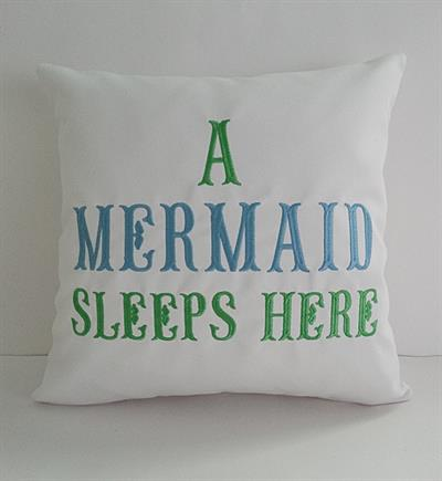 Sunbrella Embroidered Mermaid Pillow Cover A Sleeps Here White 16