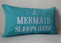 Sunbrella Embroidered Mermaid Pillow Cover - A Mermaid Sleeps Here® Pillow Cover - Aruba