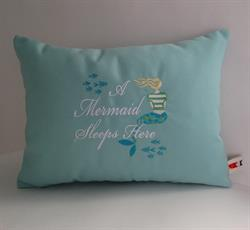 Sunbrella Embroidered Mermaid Pillow Cover - A Mermaid Sleeps Here® - Glacier 12