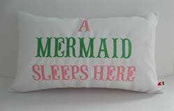 Sunbrella Embroidered Mermaid Pillow Cover - A Mermaid Sleeps Here® - White
