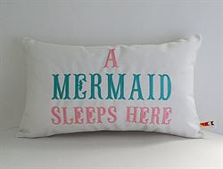 Sunbrella Embroidered Mermaid Pillow Cover - A Mermaid Sleeps Here® - Teal and Pink Embroidery