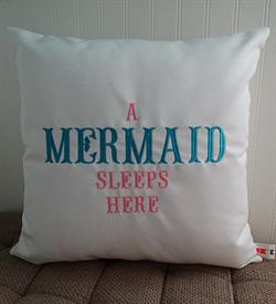 "Sunbrella Embroidered Mermaid Pillow Cover - A Mermaid Sleeps Here® - Natural - 18"" square"