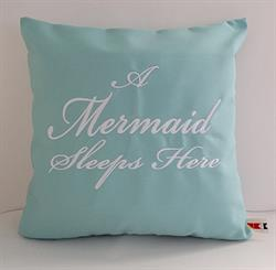 "Sunbrella Embroidered Mermaid Pillow Cover - A Mermaid Sleeps Here® - Glacier 18"" square"