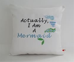 Sunbrella Embroidered Mermaid Pillow Cover - I Am A Mermaid