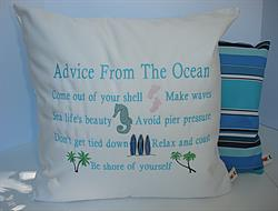 Sunbrella Embroidered Advice From The Ocean Pillow Cover - Natural