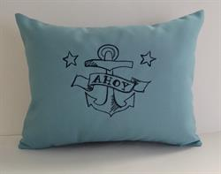 Sunbrella Embroidered Anchor Indoor Outdoor Pillow Cover - Ahoy - Mineral Blue