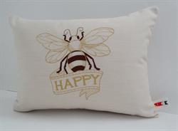 Sunbrella Embroidered Bee Happy Pillow Cover - Parchment