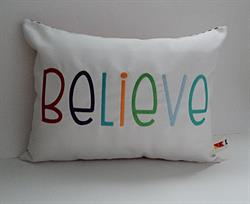 Sunbrella Embroidered Multi Color Believe Indoor Outdoor Pillow Cover