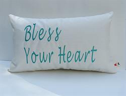 Sunbrella Embroidered Sentiment Bless Your Heart Indoor Outdoor Pillow Cover - Spectrum Eggshell