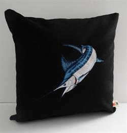 Sunbrella Embroidered Game Fish Blue Marlin Pillow Cover - Black