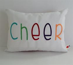 Sunbrella Embroidered Multi Color Cheer Indoor Outdoor Pillow Cover