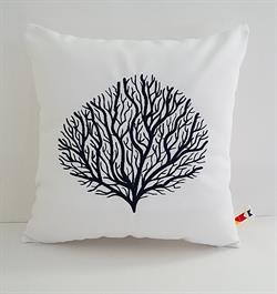 Sunbrella Embroidered Coral Pillow Cover - White - Navy Embroidery