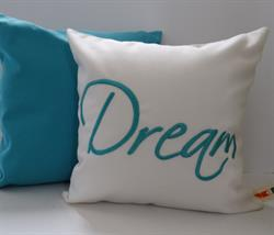 Sunbrella Embroidered Sentiment Pillow Cover - Dream - Natural