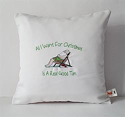 Sunbrella Embroidered Santa All I Want For Christmas Pillow Cover