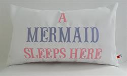 Sunbrella Embroidered Mermaid Pillow Cover - A Mermaid Sleeps Here® - Pink and Lavender Embroidery