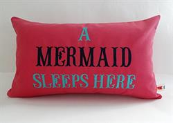 Sunbrella Embroidered Mermaid Pillow Cover - A Mermaid Sleeps Here® - Hot Pink II