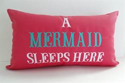 Sunbrella Embroidered Mermaid Pillow Cover - A Mermaid Sleeps Here® - Hot Pink I