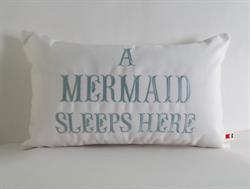 Sunbrella Embroidered Mermaid Pillow Cover - A Mermaid Sleeps Here® Pillow Cover - Natural
