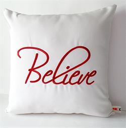 Sunbrella Embroidered Believe Indoor Outdoor Pillow Cover - Natural - Red Embroidery