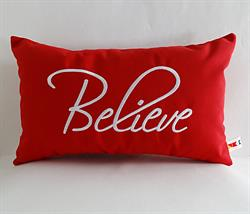 "Sunbrella Embroidered Believe Indoor Outdoor Pillow Cover - Jockey Red - 12"" x 20"""