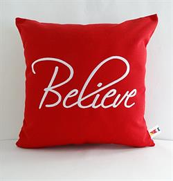 Sunbrella Embroidered Believe Indoor Outdoor Pillow Cover - Jockey Red