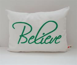 Sunbrella Embroidered Believe Indoor Outdoor Pillow Cover - Natural