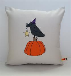 Sunbrella Embroidered Autumn Primitive Raven Indoor Outdoor Pillow Cover