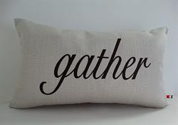 Sunbrella Embroidered Sentiment Indoor Outdoor Pillow Cover -  Gather - Dark Brown Embroidery