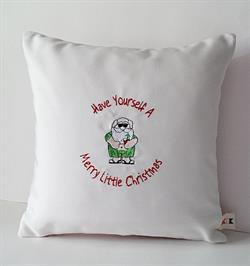Sunbrella Embroidered Have Yourself Indoor Outdoor Christmas Pillow Cover