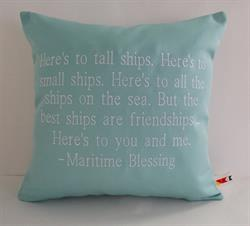 Sunbrella Embroidered Maritime Blessing Outdoor Pillow Cover - Glacier