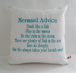 Sunbrella Embroidered Mermaid Pillow Cover - Mermaid Advice I