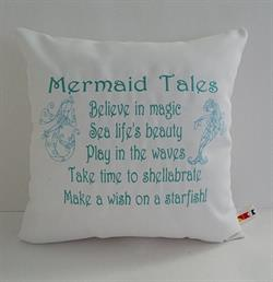 Sunbrella Embroidered Mermaid Pillow Cover - Mermaid Tales II