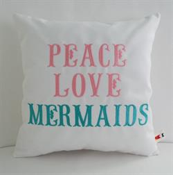 Sunbrella Embroidered Mermaid Pillow Cover - Peace Love Mermaids - White - Aqua and Teal