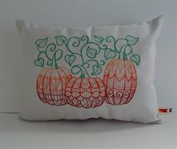 Sunbrella Embroidered Autumn Pumpkin Indoor Outdoor Pillow Cover