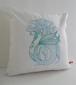 Sunbrella Embroidered Mermaid Pillow Cover - Swirly Mermaid II
