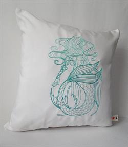 Sunbrella Embroidered Mermaid Pillow Cover - Swirly Mermaid I