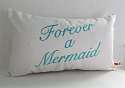 Sunbrella Embroidered Mermaid Pillow Cover - Forever A Mermaid - Natural