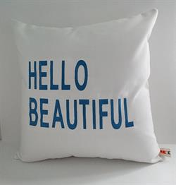 Sunbrella Embroidered Hello Beautiful Pillow Cover -  Natural