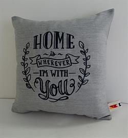 Sunbrella Embroidered Home Is Wherever I'm With You Outdoor Pillow Cover