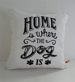 Sunbrella Embroidered Home Is Where The Dog Is Outdoor Pillow Cover